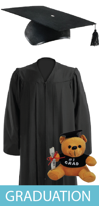 Graduation Gowns, Bachelor Gowns, Masters Gowns, Graduation Bears, Trenchers, Mortarboards