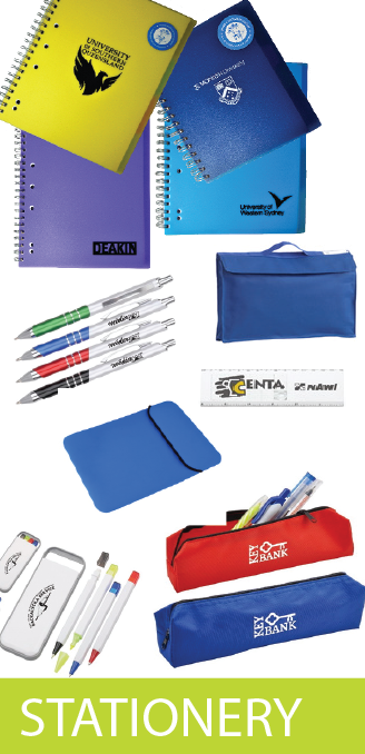 Branded Notebooks, Pencil Cases, Pens, Tech Bags, Library Bags, Sports Bags, Accessories
